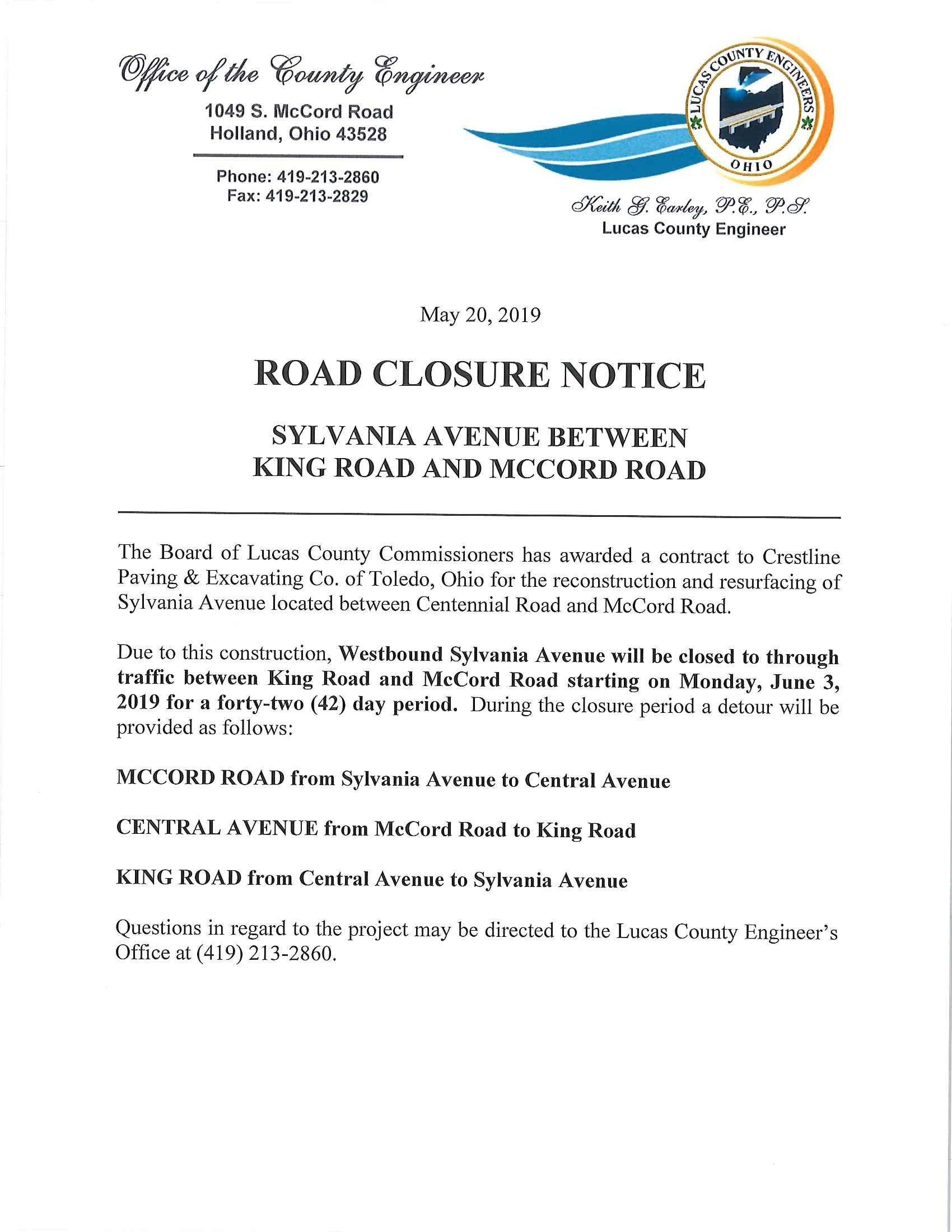 Sylvania Avenue Road Closure