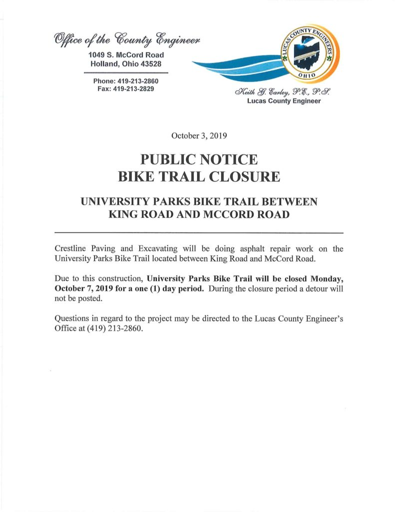 UT Bike Trail Closure