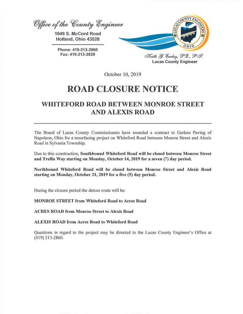 Whiteford Road Closure Information